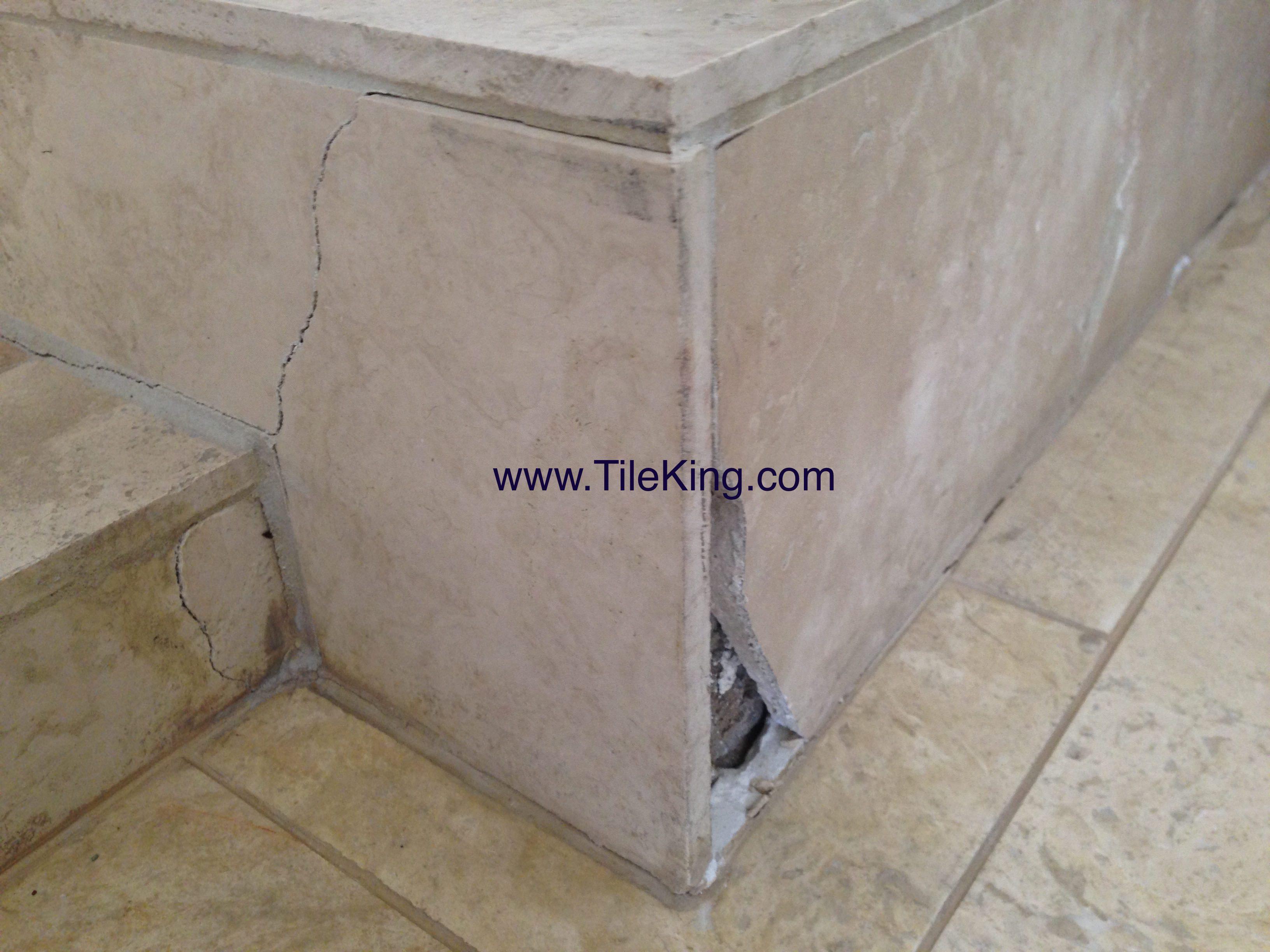 travertine crack before repair